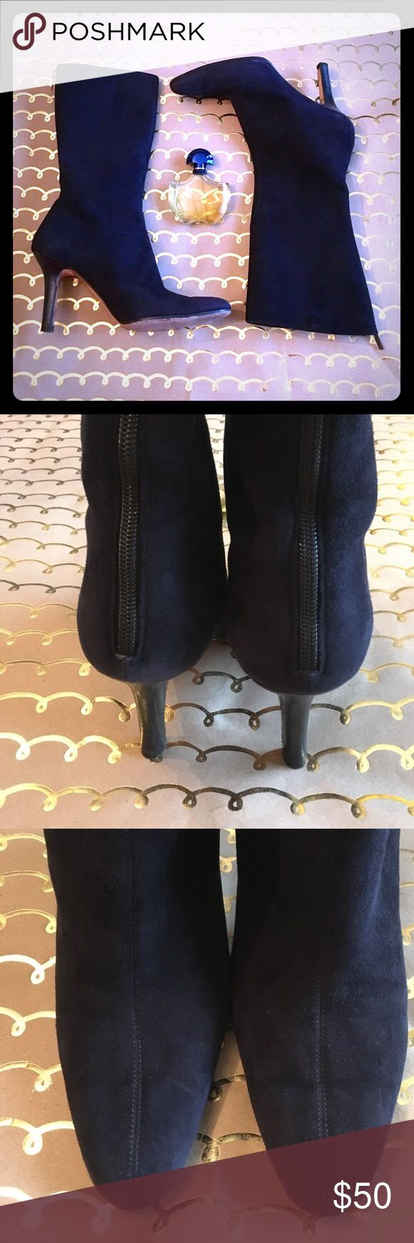 """Navy Blue Mid Calf Jimmy Choo Suede Boots! Reposh! So cute! The seam on the front of these soft suede booties is really what makes them extra chic! The box toe and exposed zipper exaggerated the uniqueness of these beauties. Reposh from @Britannea because they were a bit too big for me! 10"""" shaft, 3.5"""" heel, 6"""" flat tops! Jimmy Choo Shoes Heeled Boots"""