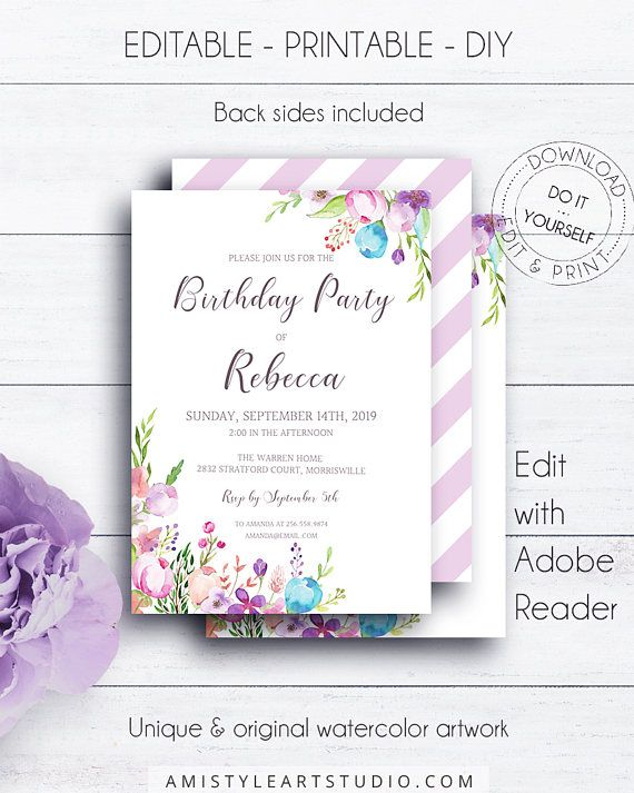 Floral Editable Birthday Invitation with nice and delightful hand-painted watercolor floral design in bohemian style.This appealing birthday invitation template is an instant download EDITABLE PDF so you can download it right away, DIY edit and print it at home or at your local copy shop by Amistyle Art Studio on Etsy