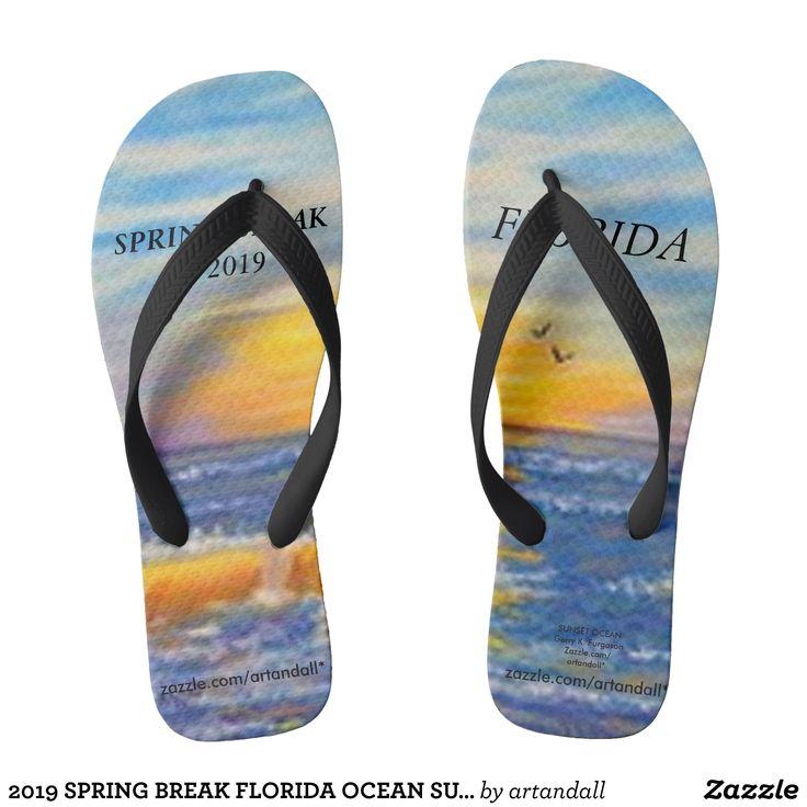 2019 SPRING BREAK FLORIDA OCEAN SUNSET FLIP FLOPS | Zazzle.com