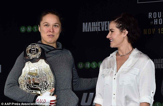 Girl power: UFC star Ronda Rousey and Melbourne Cup winner Michelle Payne spent time together on Thursday ahead of Rousey's upcoming fight in Melbourne