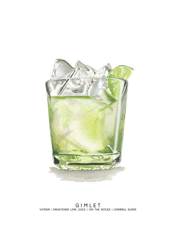 Gimlet MidCentury Cocktail Aquarellillustration von cheryloz