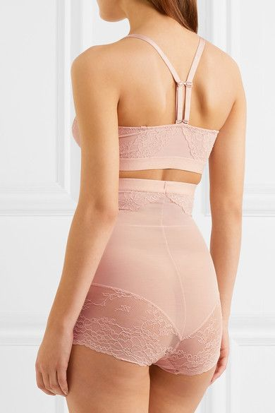 Spanx - Spotlight Stretch-tulle And Lace Soft-cup Bra - Blush - x large