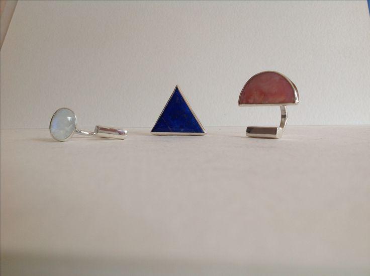 Anillos únicos, hechos a mano en plata 950 y piedras semipreciosas
