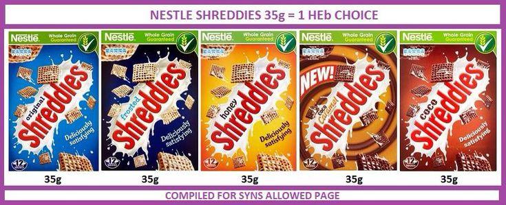Shreddies cereal syn values slimming world healthy b hex b heb