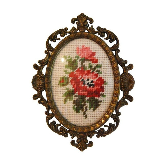 Embroidered Rose in Decorative Bronze Colored Frame - Bows & Bandits - Austrian Vintage Clothing ($20-50) - Svpply