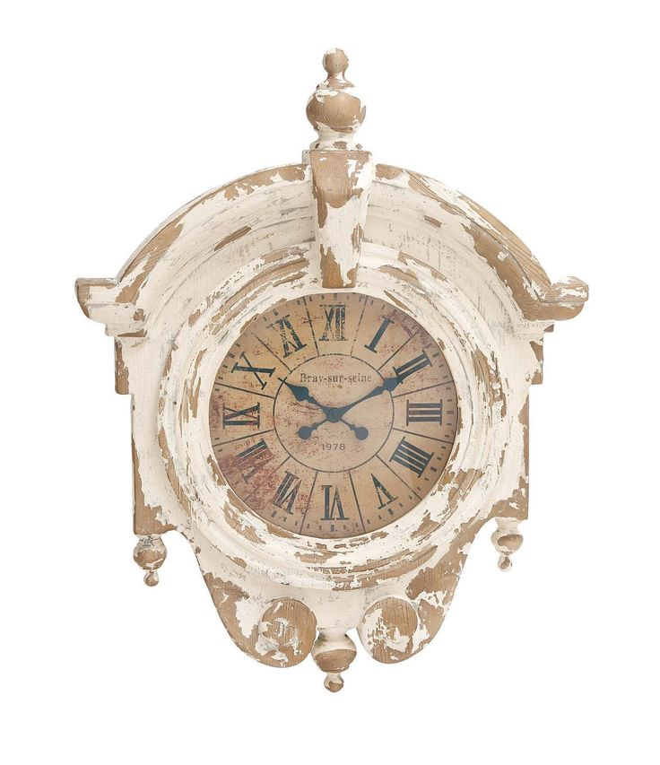 36x43 Large Distressed Shabby White Wall Clock French Country Cottage Home Decor