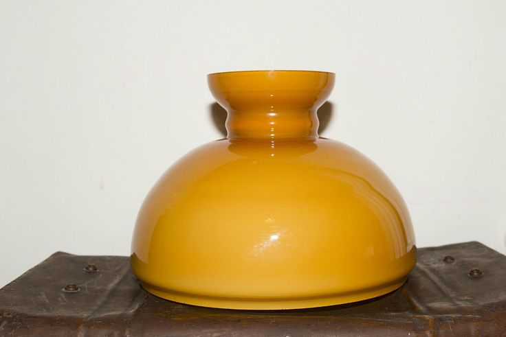 Vintage 60s/ 70s Mustard Yellow Glass Light/ Lamp Shade - Oil - Christopher Wray