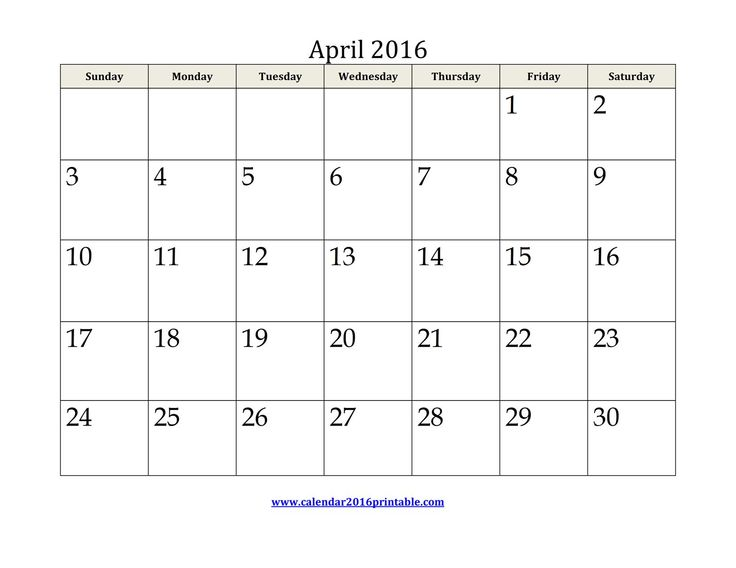 Free April 2016 Calendar Printable that you can download, customize, and print. Calendars are available in PDF, Images and Microsoft Word formats.
