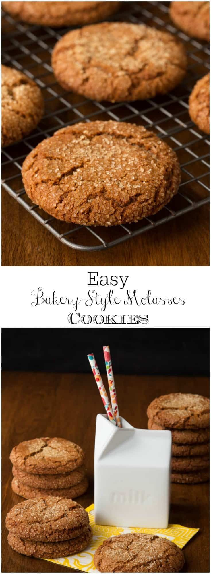 Just like the cookies you find in a fine bakery, except you can mix the dough up in one bowl in just ten minutes - and they cost WAY less! #molassescookies #bakerystyle #cookies #easy #onebowl