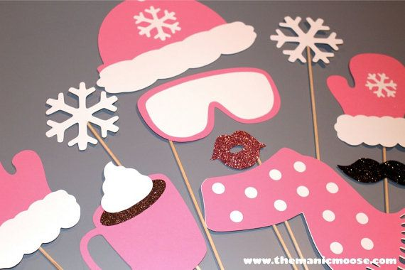 Winter Photo Booth Props  10 piece set  GLITTER by TheManicMoose