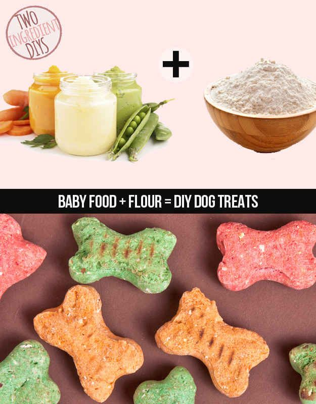 Bake your own dog treats with baby food and flour. 2 cups whole wheat flour, 2 4 oz. baby food (or homemade purée)
