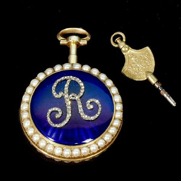 Orologio antico gioiello in oro perle naturali smalto e diamanti collezione RIVA gioielli argenti antichi Bergamo www.gioielliantichi.eu