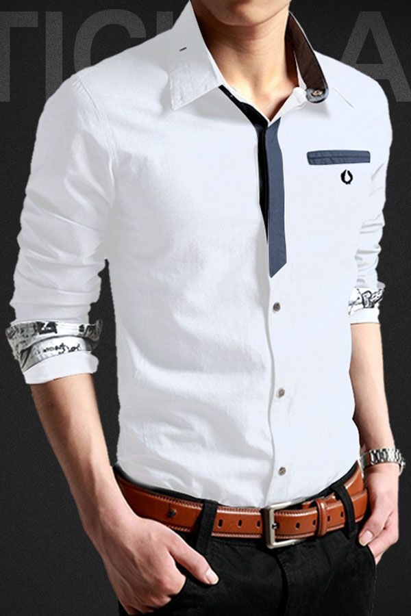 Men's shirts are always quite popular for its simple design and easy-to-match feature. Here, we would like to highly recommend this piece of Slim Fit Hidden Button Korean Style Men Shirt to you. It's very stylish with splicing neck lining which makes this shirt keep away from dull, the embroidery detail adds nobles, partial hidden button on front and the distinctive sleeve cuffs design is also chic and cozy for wearing.