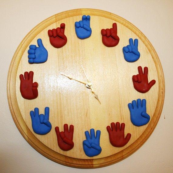 Unique Handmade Wall Decor : American sign language clock unique handmade asl