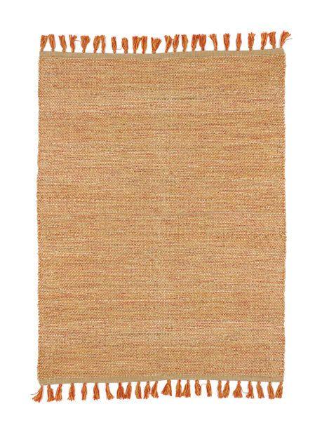 Tapis naturel en jute et coton – Néo-ethnique rouge – 200 x 290 cm – 18094003