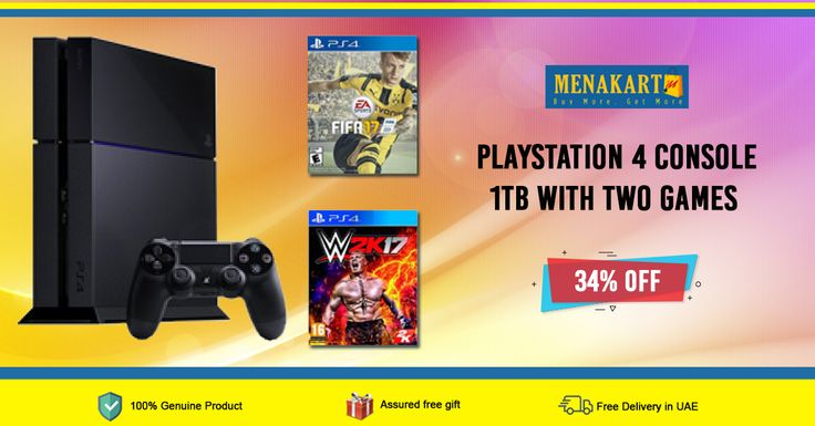 Shop for Playstation 4 Console 1TB with Two Games (FIFA 17 & WWE 2K17) Online
