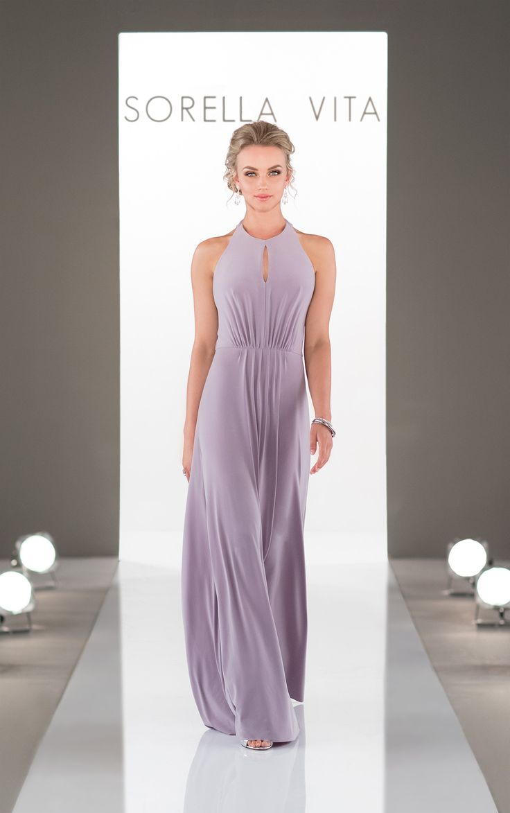 (I3227)The new high neckline bridesmaid dress has arrived! Featuring the ultra-flattering and trendy high neckline, this Luxe Double Knit gown is perfectly comfy.