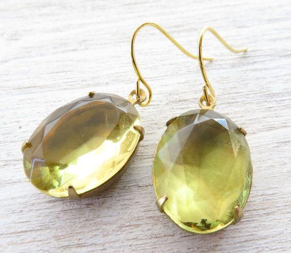 Yellow citrine earrings dangle earrings vintage by Sofiasbijoux