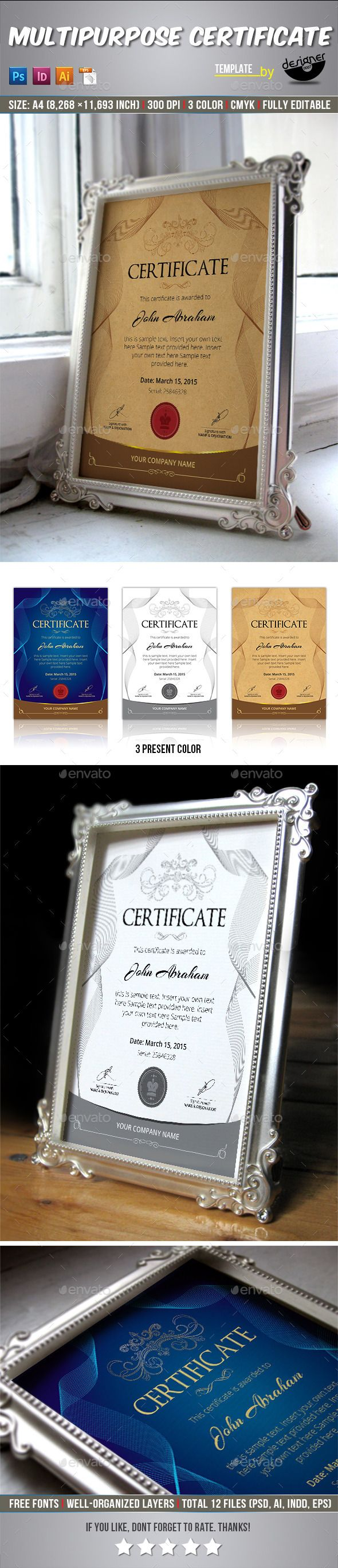 25 unique certificate templates ideas on pinterest free multipurpose certificate template yadclub Choice Image