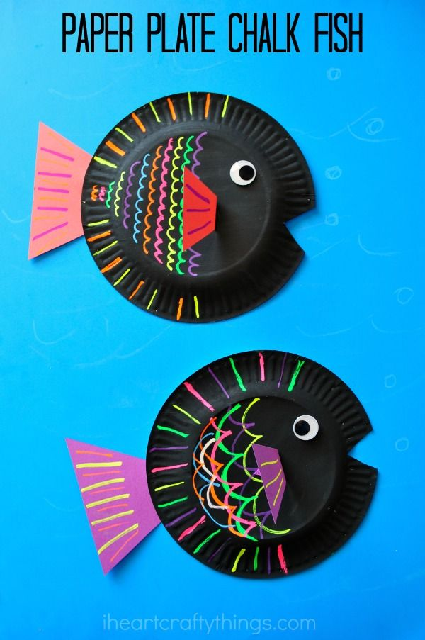 I HEART CRAFTY THINGS: Paper Plate Fish Kids Craft {using liquid chalk}