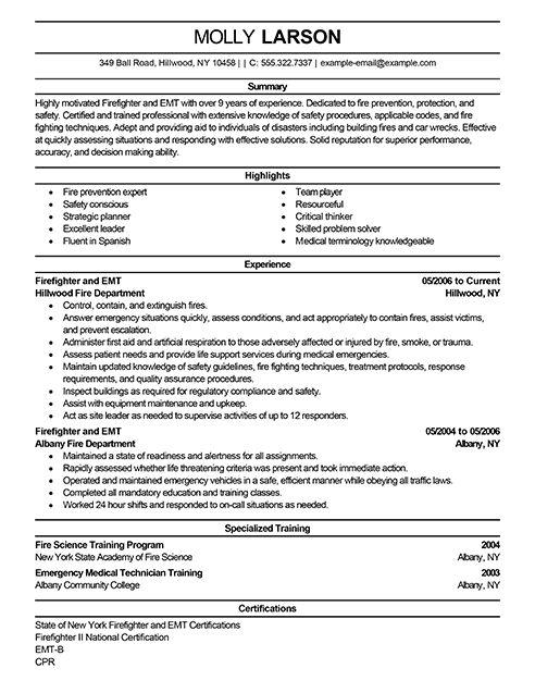 Emt Resume Sample Resume Examples Resume Examples Firefighter Resume