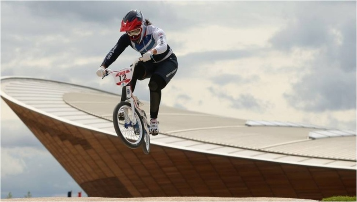 Shanaze Reade gets her London 2012 BMX campaign underway with the Velodrome, the venue of Team GB's track medal success, in the background