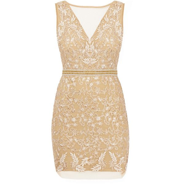 Nicole Miller Gold Floral Embroidered Tulle Mini Dress found on Polyvore featuring dresses, vestidos, gold, mini dress, short sequin dress, beige cocktail dress, gold cocktail dress and fitted cocktail dresses