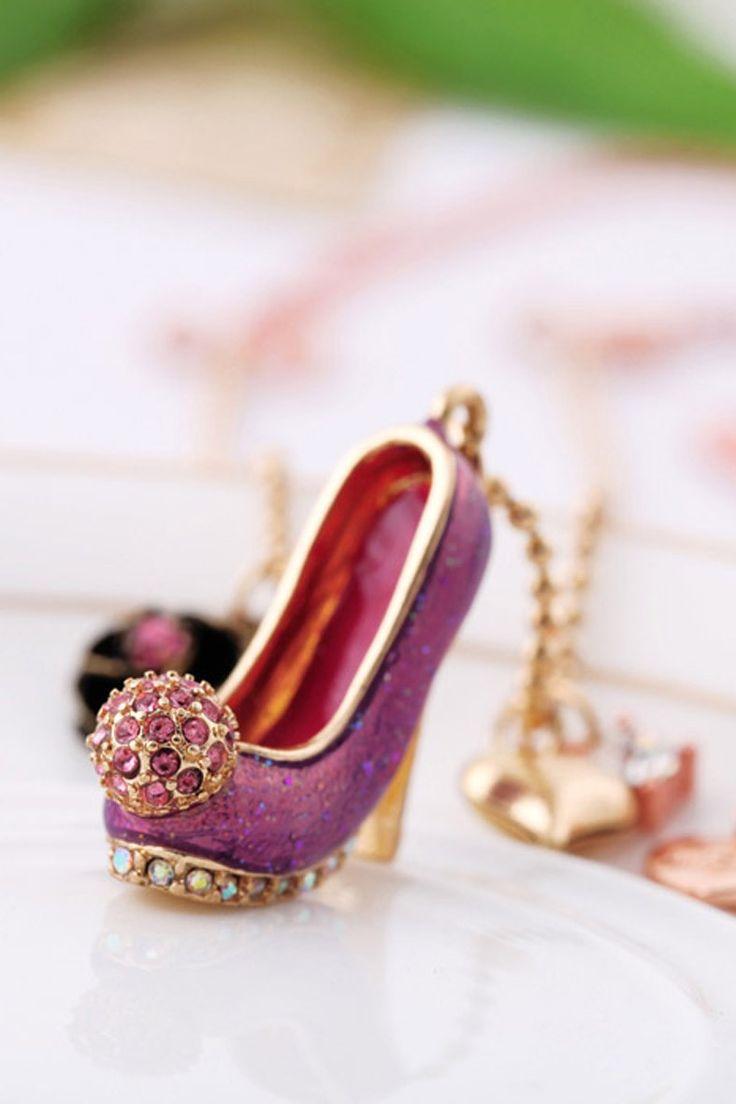 ketting met paarse glitter pump bij www.miss-p.nl