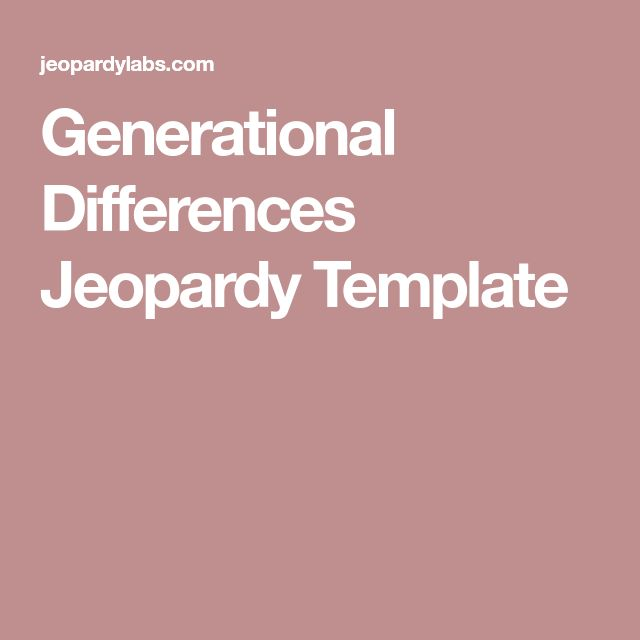 Generational Differences Jeopardy Template
