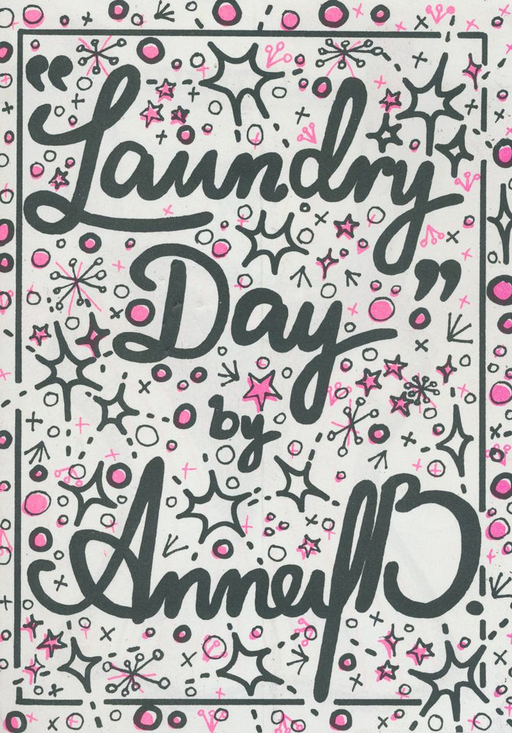 Black and pink cover - Laundry Day comic zine by Anney B. Spot-coloured stencil printing at the Rizzeria - www.rizzeria.com.