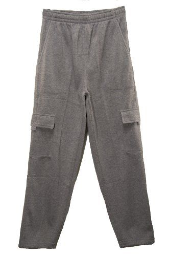 Mens Fleece Lined Cargo Sweatpants in Grey, Size Large. Fleece Lined. Two Side Cargo Pockets with Velcro Closure. 100% Polyester, Machine Wash Cold. Elastic Waistband. Two Front Pockets. Incredibly soft fleece lined material ensures lots of warmth and comfort when you're lounging around or working out.