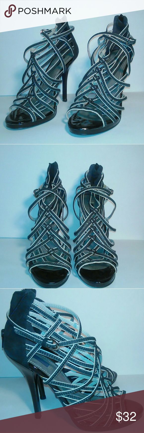 Kurt Geiger Heels Very cute strappy black & white Kurt Geiger sandal heels. Excellent condition! Kurt Geiger Shoes Heels