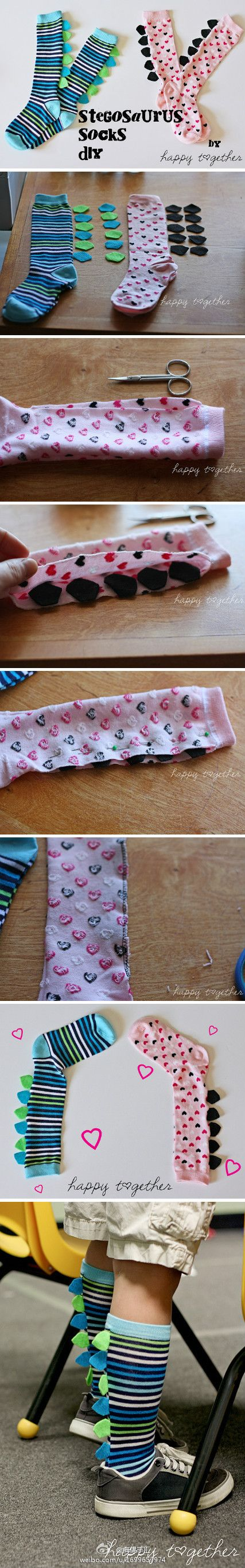 DIY | Dinosaur Socks. You could diy the super hero cape Sox too
