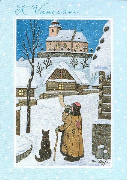 Czech christmas cards - Josef Lada: The Watchman