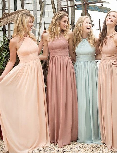 Elegant Halter Ruffles A-line Long Peach Bridesmaid Dresses