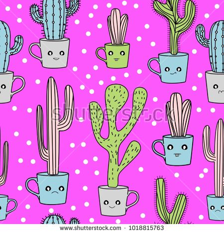 Cute cactus seamless pattern. Hand drawn vector illustration colorful pastel style.