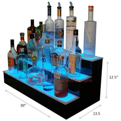 "30"" 3 Step Lighted LED Color Changing Bar Bar Shelving 