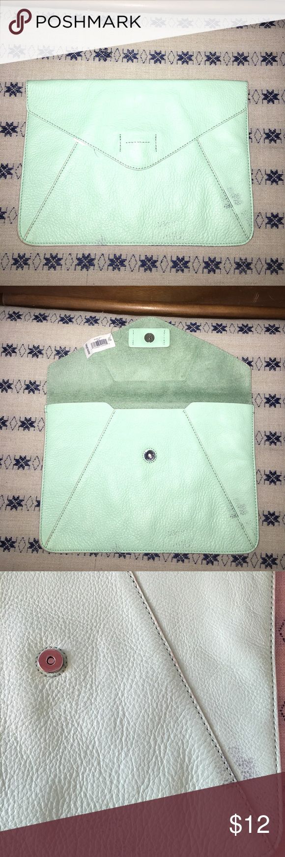 Leather envelope clutch Gap leather envelope clutch. Mint green color. Has slight discoloration on front (see photo). Snap closure. GAP Bags Clutches & Wristlets