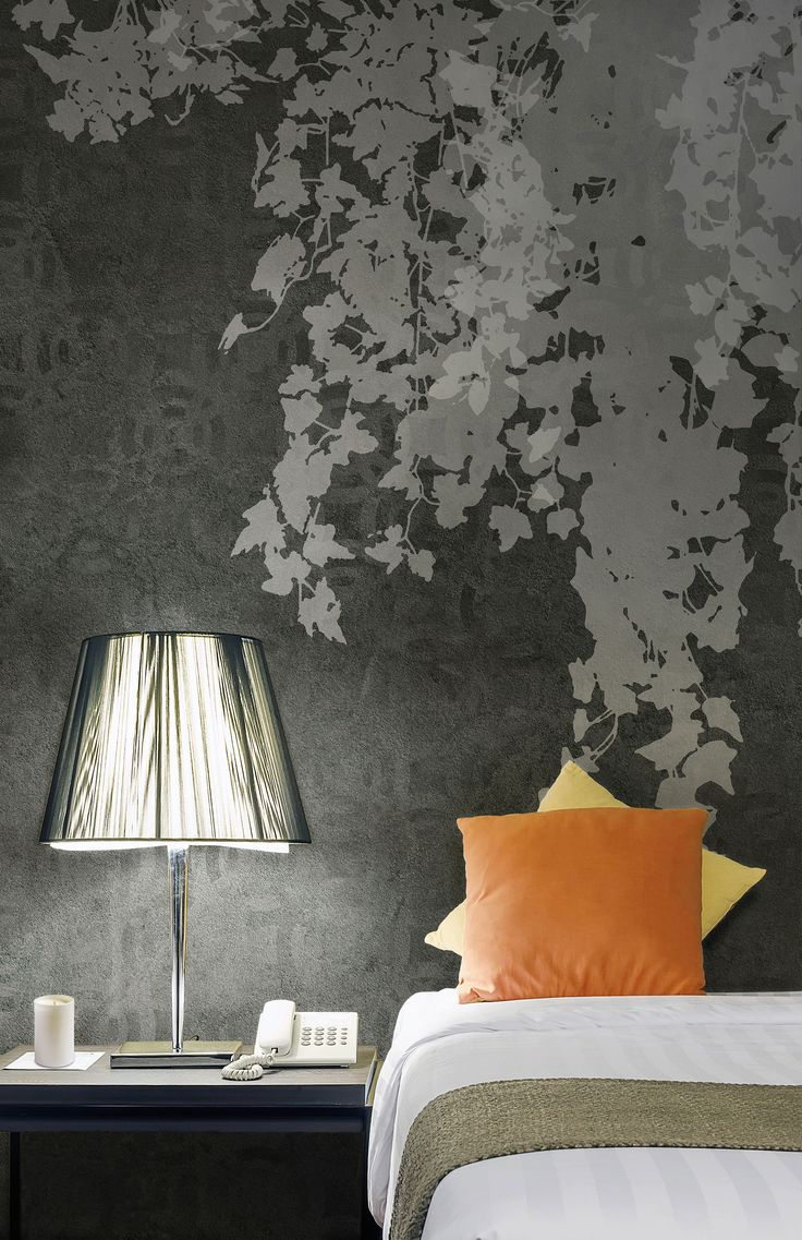 """Ivy inspired wallpaper in a modern bedroom.  Subject: """"Hedera"""" by #Tecnografica Italian Wallcoverings in collaboration with 212dpi"""