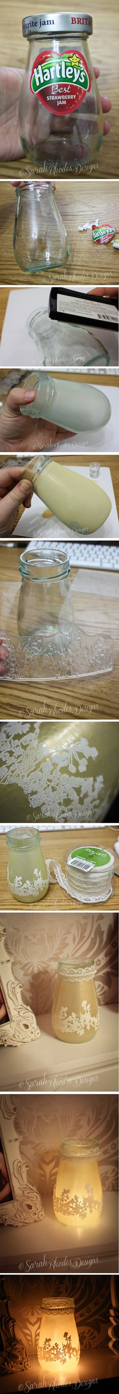 Recycled Jam Jar Tutorial - Sarah Rhodes Designs for Wow embossing powder
