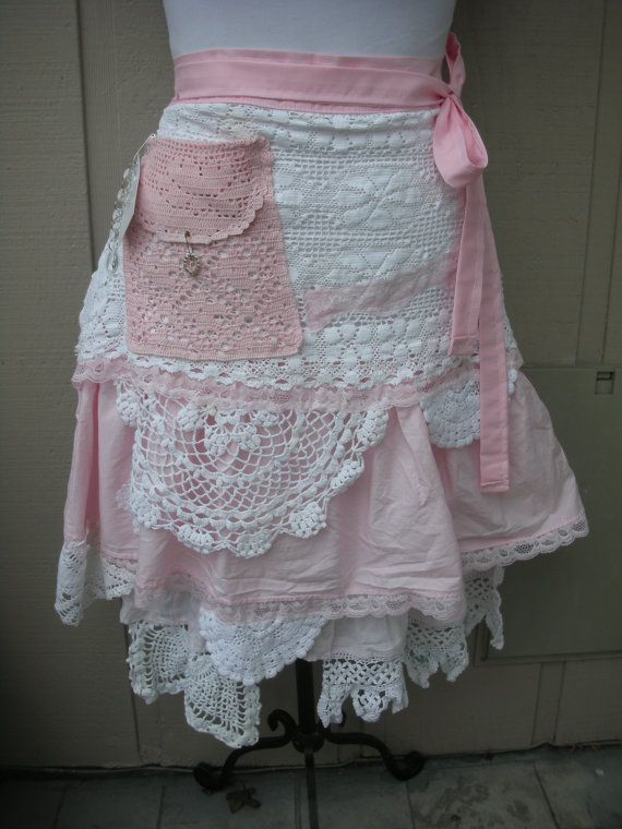 Pink Lace Aprons  Handmade Bridal Aprons  Vintage by AnniesAttic, $48.95