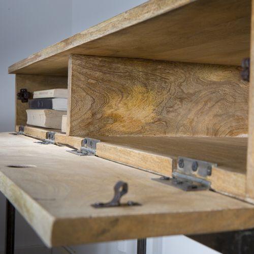 Console en bois et pied métal 2 tiroirs Double Zéro Guibox