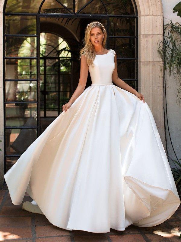 Mikado Bridal Ball Gown Bateau Neck Moonlight J6701 Ball Gowns Wedding Boat Neck Wedding Dress Wedding Dress With Pockets