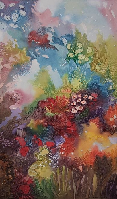 Stunning underwater watercolor painting, gorgeous bright colors!