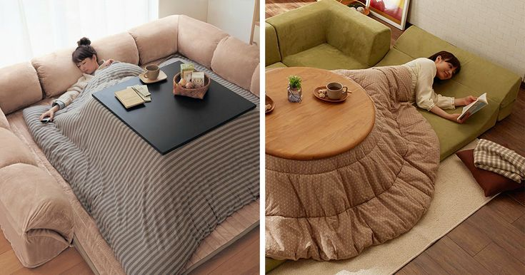 The kotatsu consists of a blanket placed between a low table-frame and table-top, with a heat source placed underneath the blanket. With your legs placed under the blanket, someone wearing traditional Japanese clothing would have warm air come through the bottom of their robes and exit around the neck, heating the whole body.