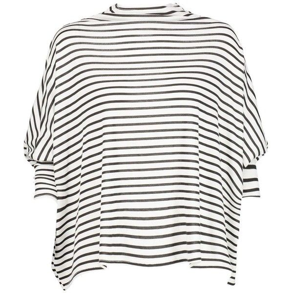 Boohoo Poppy Oversized Batwing Stripe Tee | Boohoo ($14) ❤ liked on Polyvore featuring tops, t-shirts, flat top, oversized striped tee, white stripes t shirt, stripe top and white t shirt