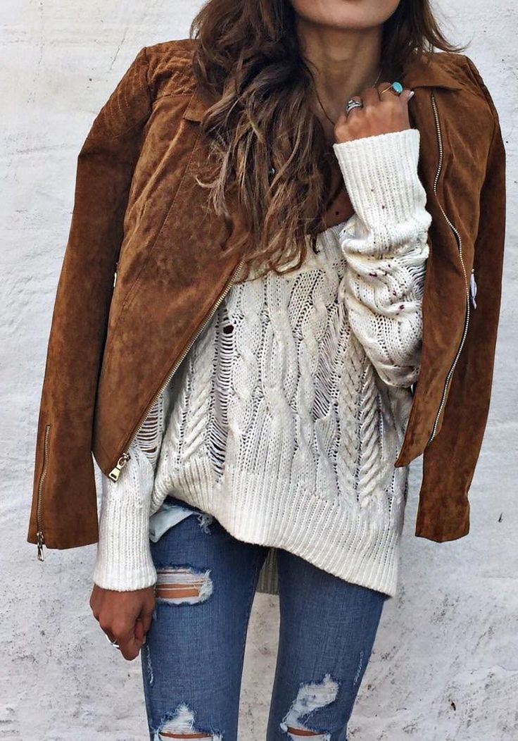 #winter #fashion //  Camel Coat // Cream Knit // Ripped Skinny Jeans