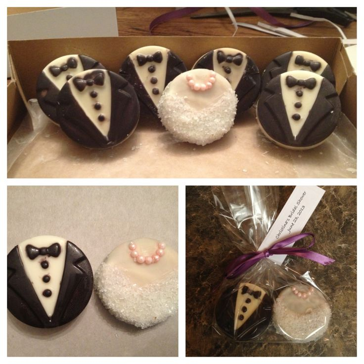 unusual wedding shower favors%0A Wedding shower favors  Bride and groom Oreo cookies  So happy with how  these turned