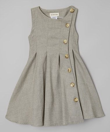 Le Bees Knees Green Rose Button-Up Dress - Toddler