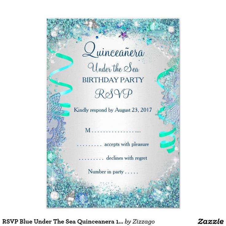 586 best quinceanera invitations images on pinterest texts rsvp blue under the sea quinceanera 15th birthday 35x5 paper invitation card stopboris Images